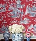Thibaut Cheng Toile Wallpaper in Robin's Egg
